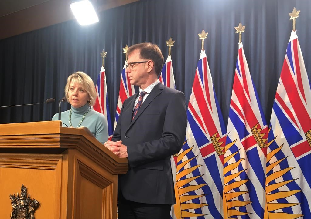 Provincial Health Officer Dr. Bonnie Henry and Health Minister Adrian Dix speak to the media at the B.C. Legislature on Wednesday, March 4, 2020.