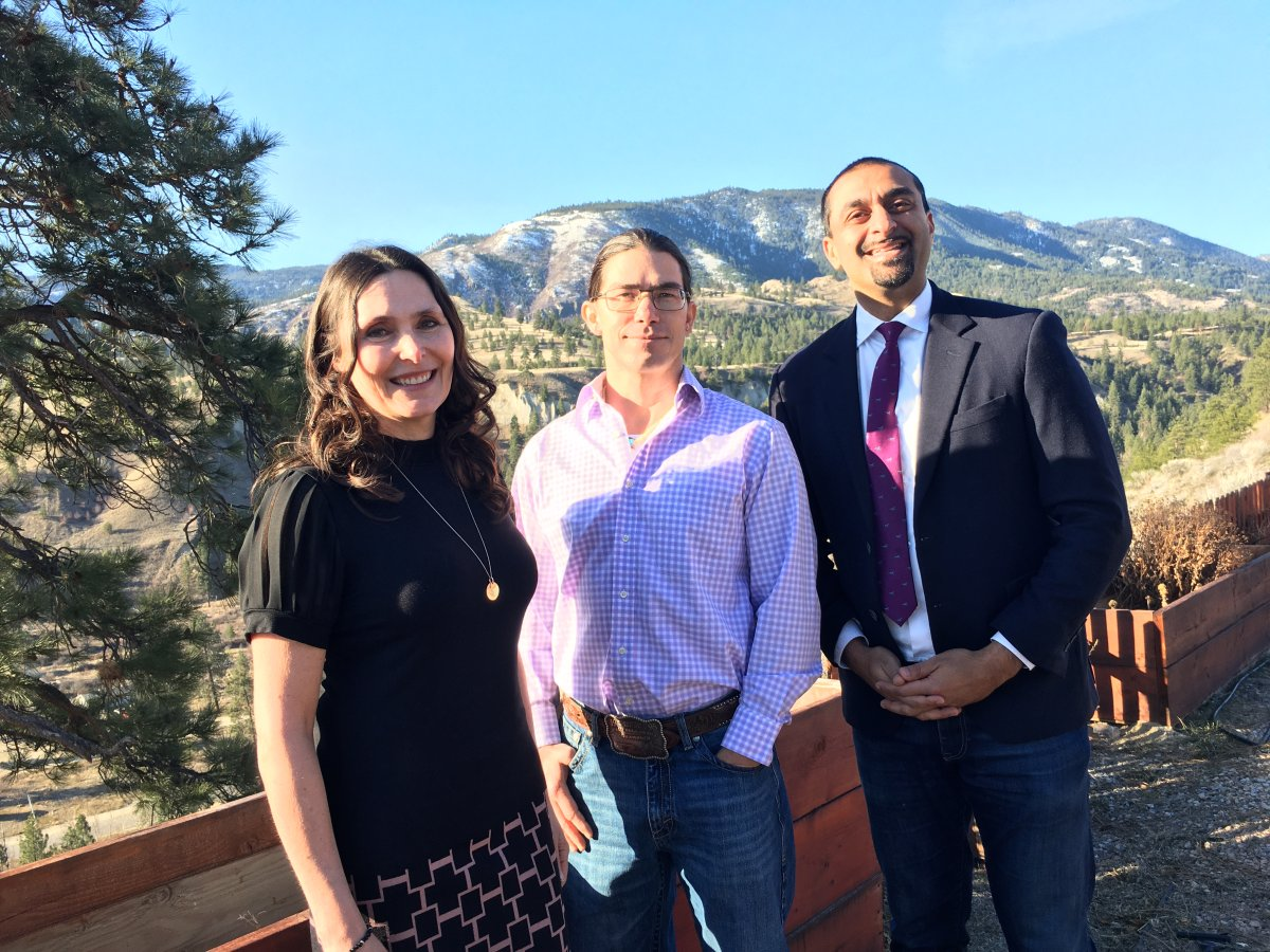Karla Kozakevich of the Regional District of Okanagan-SImilkameen, Chad Eneas of the Penticton Indian Band and Ravi Kahlon from the B.C. Ministry of Forests pose at a grant funding announcement on the Penticton Indian Band reserve on Monday morning.