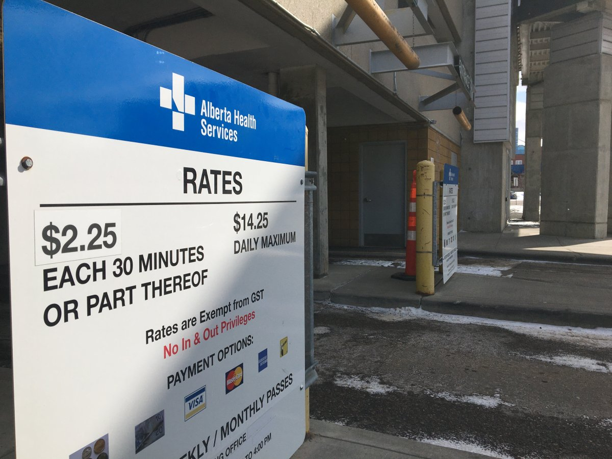 Alberta Health Services suspended parking fees at AHS facilities as of April 3, during the COVID-19 pandemic.