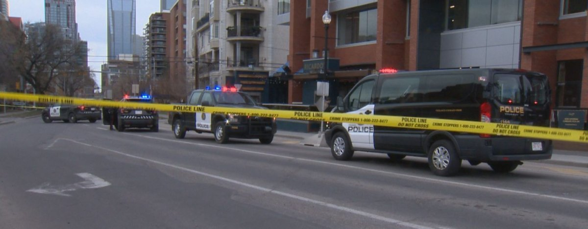 Calgary police responded to a shooting on 17 Avenue S.W. on Monday, April 27, 2020.