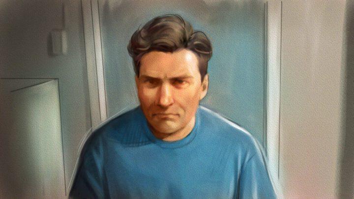 Paul Bernardo is shown in this courtroom sketch during Ontario court proceedings via video link in Napanee, Ont., on October 5, 2018.
