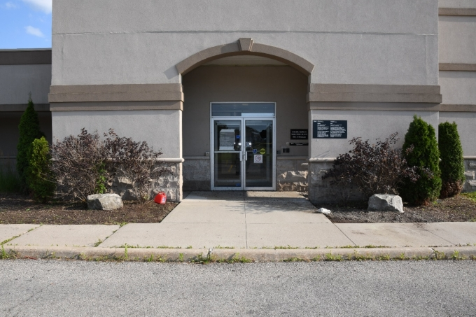 A small gas can sits near the entrance of the Immigration, Refugee, and Canadian Citizenship office in the city's south-end.