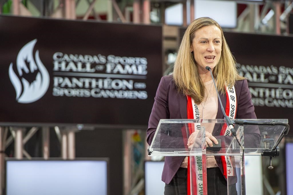 The PWHPA's Jayna Hefford during her 2019 induction into Canada's Sports Hall of Fame.