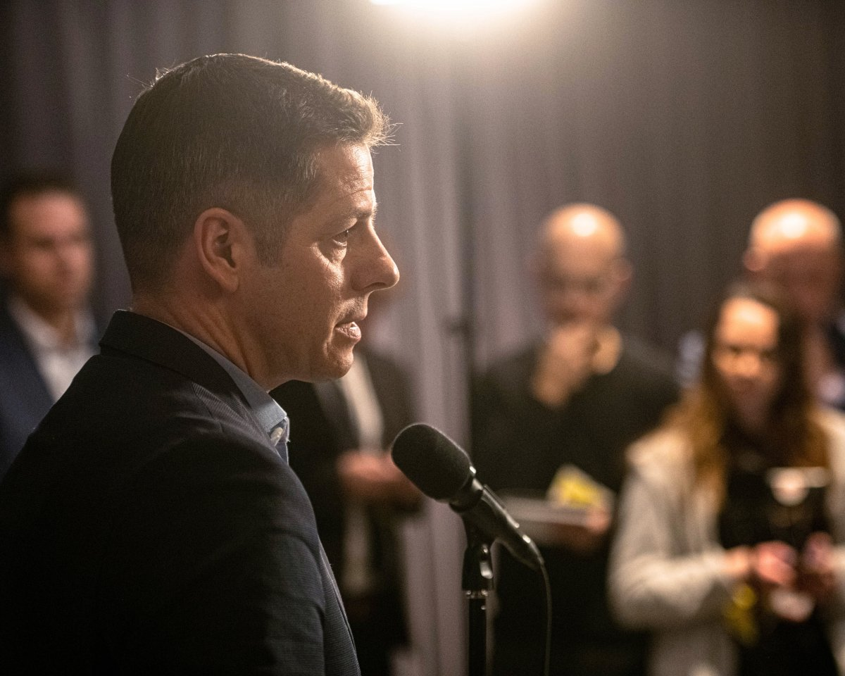 Winnipeg Mayor Brian Bowman speaks to media.
