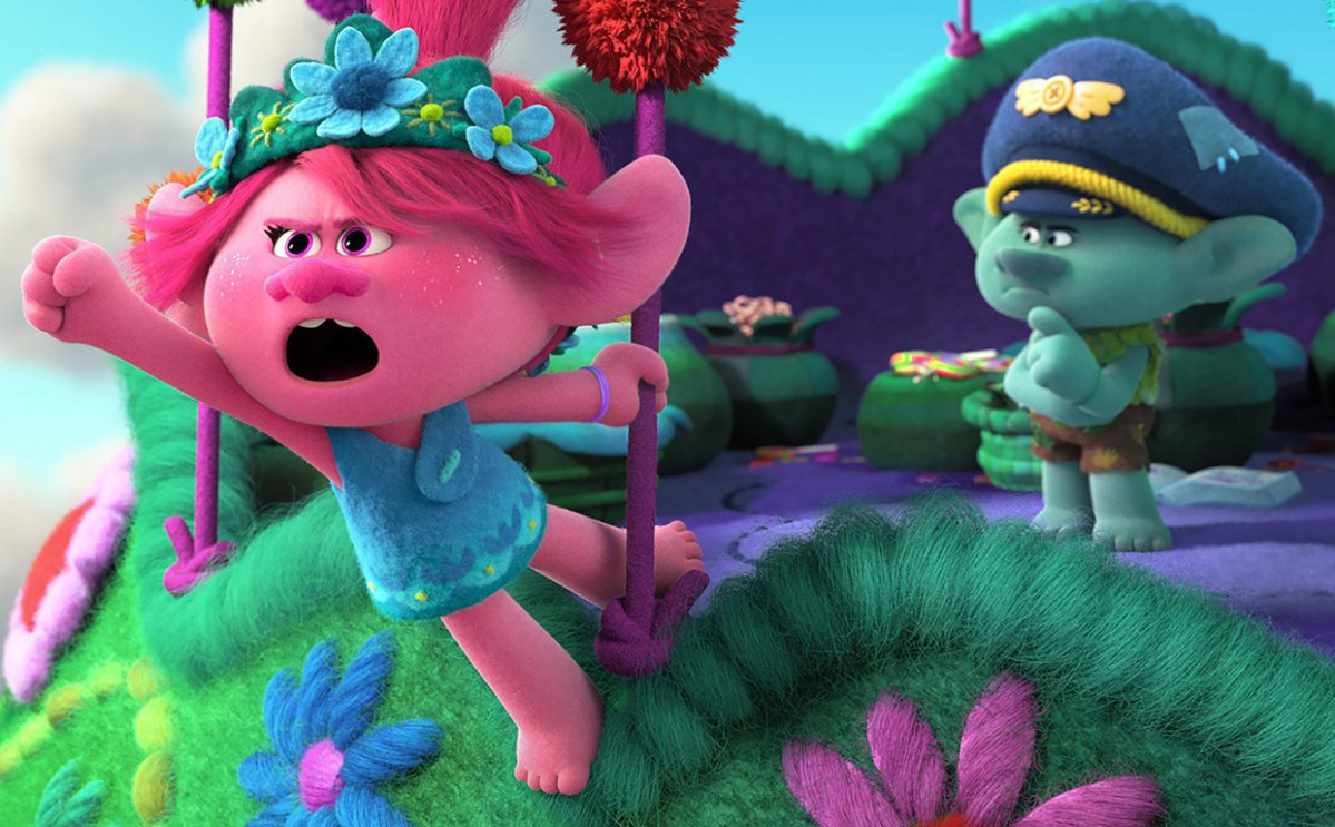 'Trolls World Tour', from left: Poppy (voice: Anna Kendrick), Branch (voice: Justin Timberlake),.