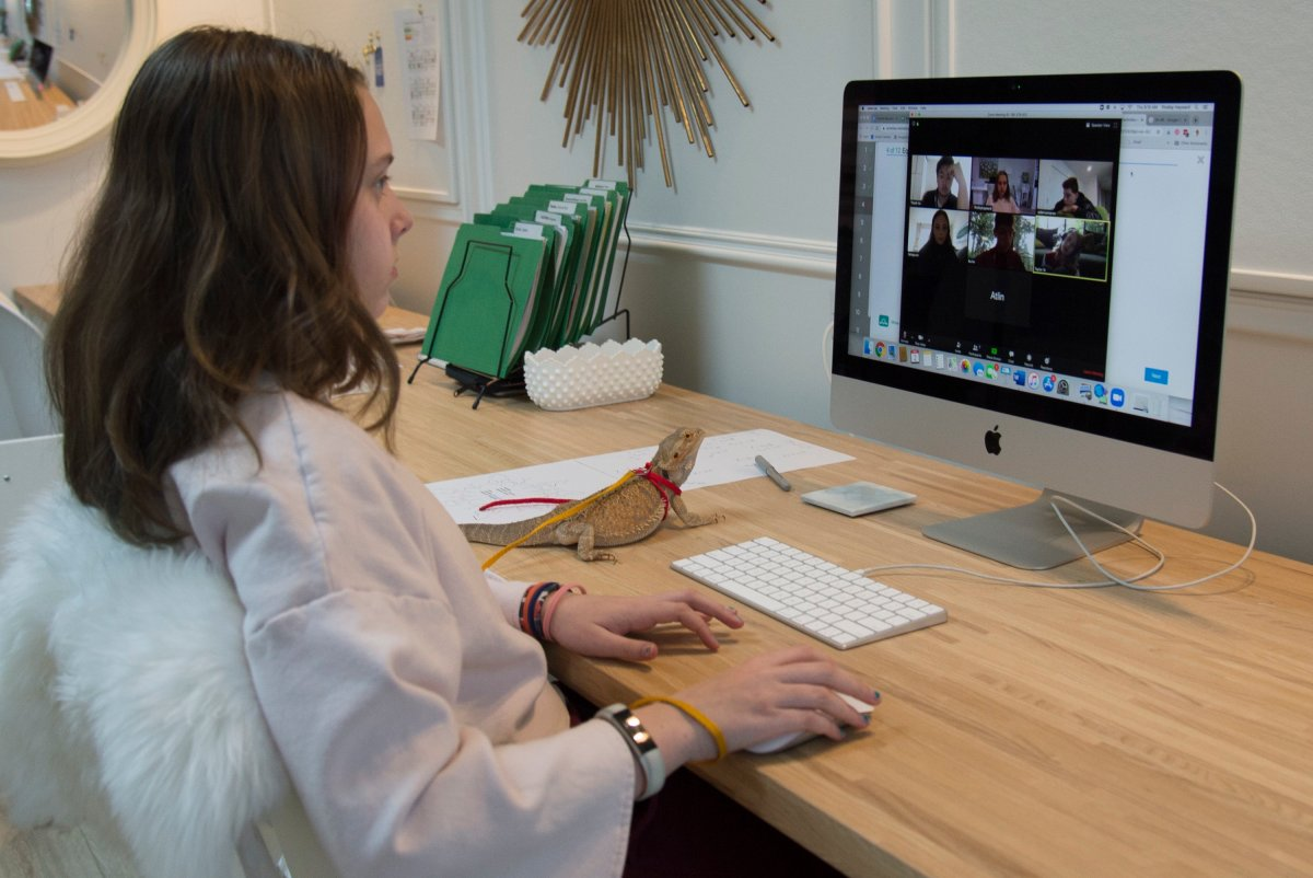 FILE - A grade 6 student takes part in a virtual school session with her teacher and classmates.