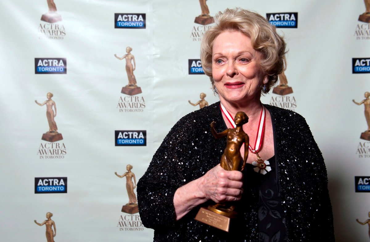 Shirley Douglas poses after receiving her ACTRA Toronto Award of Excellence at the 11th annual ACTRA awards in Toronto, Saturday February 23, 2013.