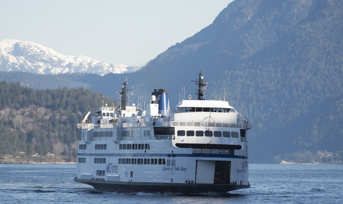 A B.C. Ferry is seen arriving at Horseshoe Bay near West Vancouver on March 16, 2020. THE CANADIAN PRESS/Jonathan Hayward.