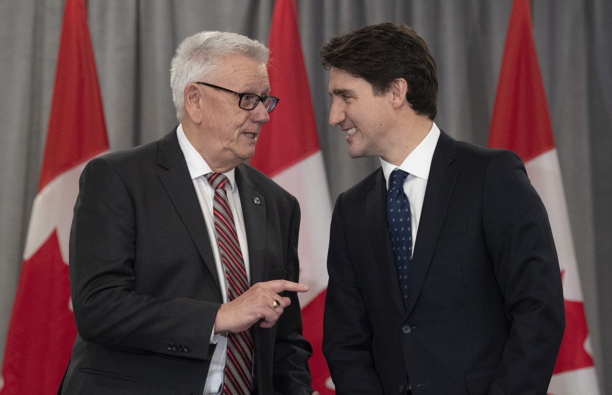 Prime Minister Justin Trudeau and FCM president Bill Karsten speak before a meeting with the Federation of Canadian Municipalities in Ottawa on Nov. 28, 2019.