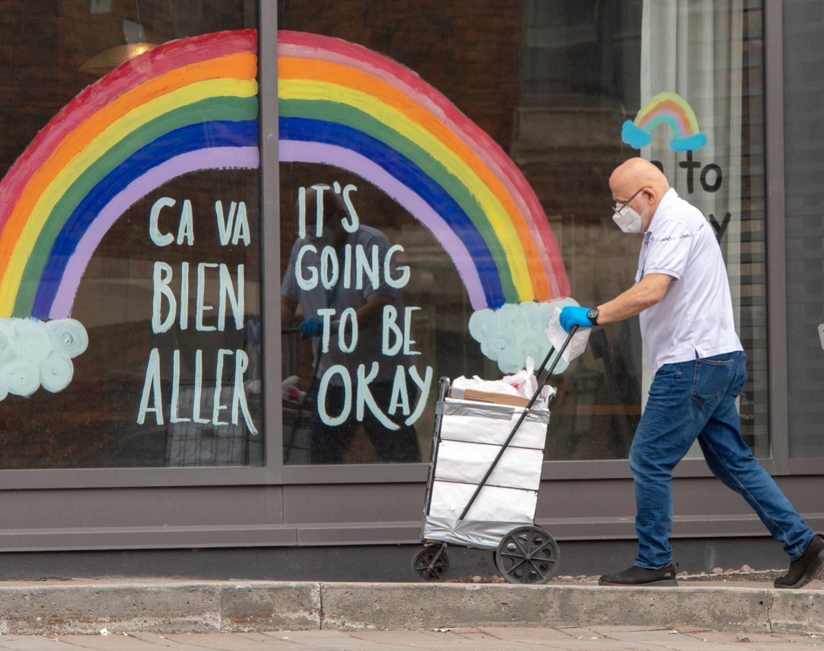 A man brings in supplies to a seniors residence, Monday, April 27, 2020 in Montreal.
