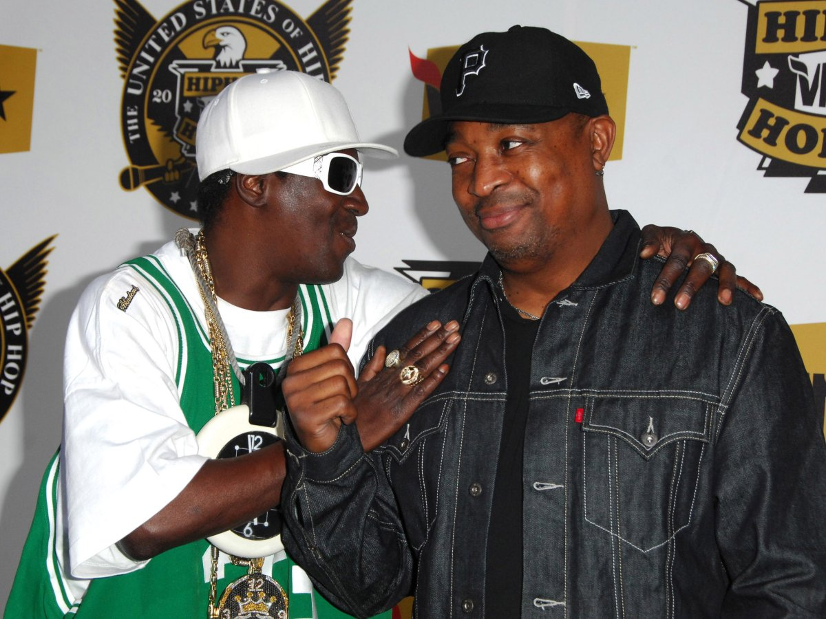 (L-R) Flavor Flav and Chuck D of Public Enemy attend the 2008 VH1 Hip Hop Honors at the Hammerstein Ballroom in New York City on Oct. 2, 2008.
