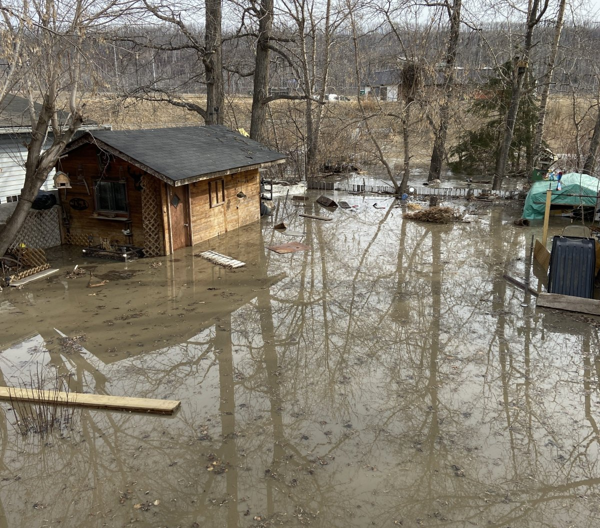 Hannah Walowski, 18, is a Fort McMurray resident dealing with flooding. Her backyard is pictured on Monday, April 27, 2020.
