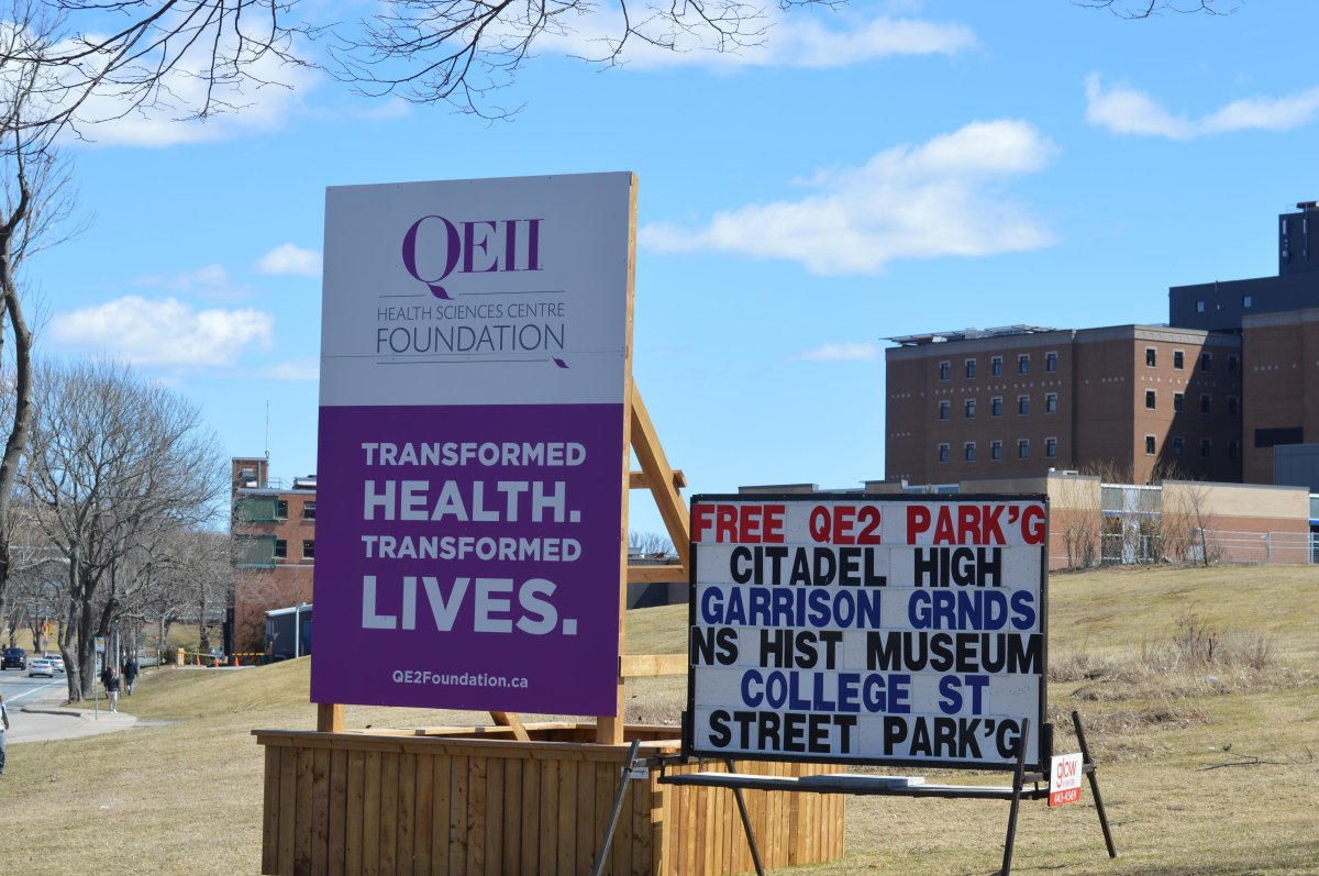 A QEII Health Sciences Centre Foundation sign on April 14, 2020.