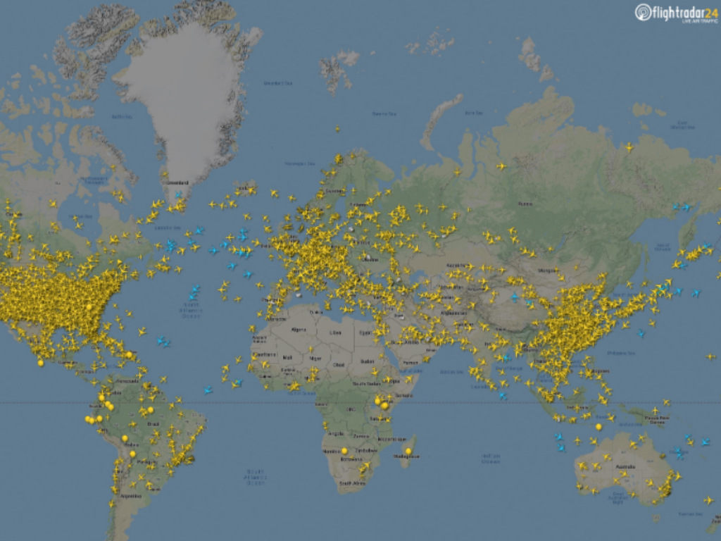 The flight paths over Europe have dropped significantly, as seen in this  airline radar photo from March 2020.