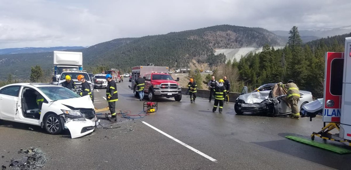 The scene of a head on collision on Highway 3 west of Princeton, B.C. April 25. The driver of the grey chevy cavalier indicated unclear road markings contributed to the crash. Photos from the scene do not show a yellow line indicating two directions of traffic.