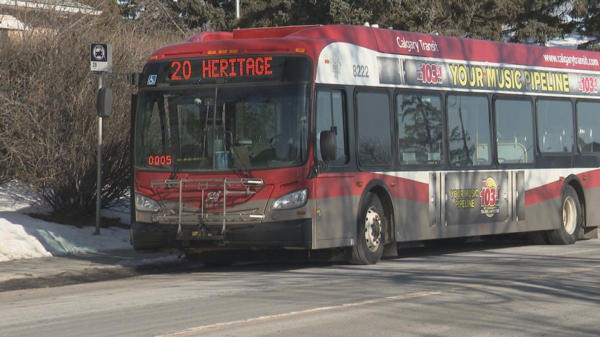 A Calgary Transit bus pictured in February 2020.