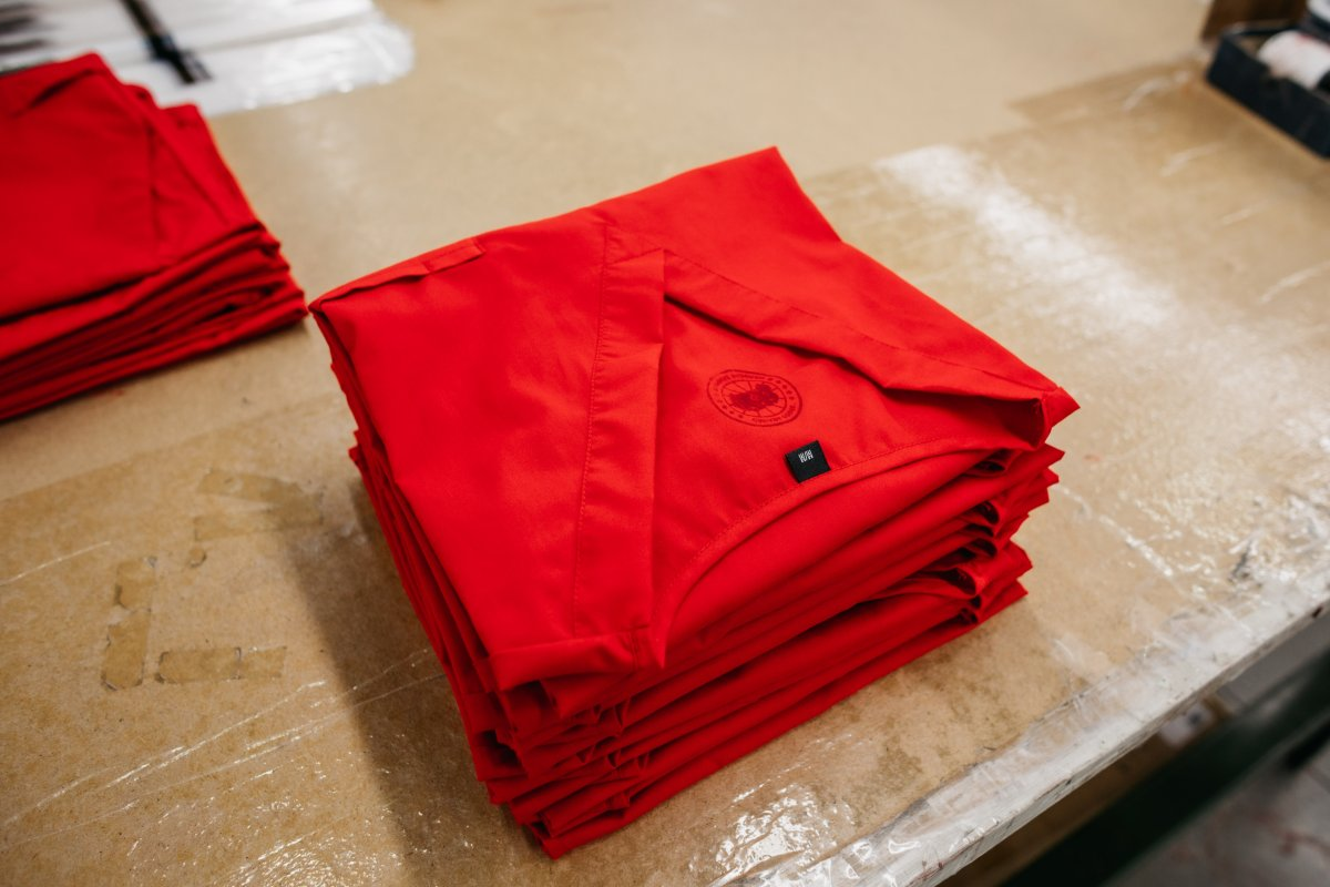Photo of hospital gowns produced by Canada Goose workers at one of its manufacturing facilities amid COVID-19 pandemic.
