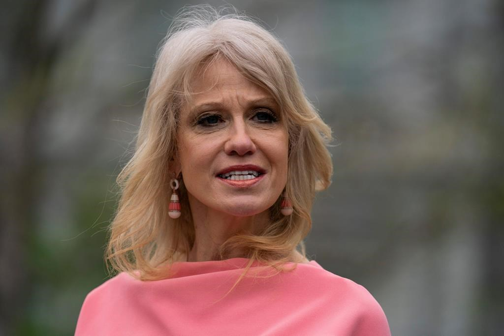 White House counselor Kellyanne Conway talks to reporters about the coronavirus, at the White House, Monday, April 20, 2020, in Washington. (AP Photo/Evan Vucci).