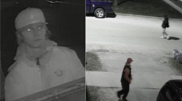 Barrie police are looking for two suspects who they allege engaged in mischief on Friday morning.