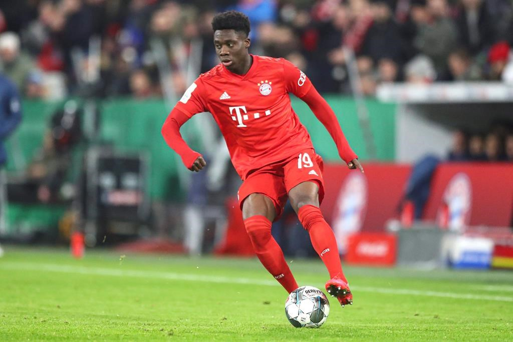 Bayern's Alphonso Davies controls the ball during the German soccer cup, DFB Pokal, match between FC Bayern Munich and TSG Hoffenheim in Munich, Germany, Wednesday, Feb. 5, 2020. THE CANADIAN PRESS/AP-Matthias Schrader.