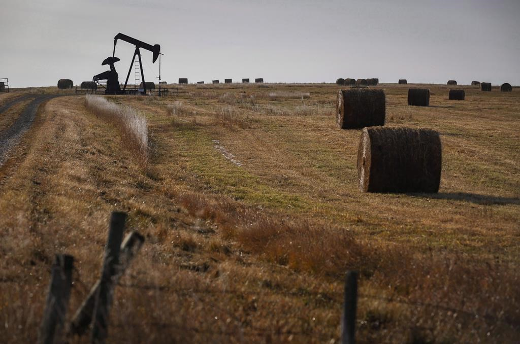 A pumpjack works at a well head on an oil and gas installation near Cremona, Alta., Saturday, Oct. 29, 2016.