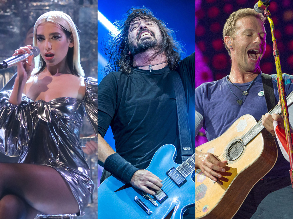 (L-R) Dua Lipa, Dave Grohl of Foo Fighters and Christ Martin of Coldplay.