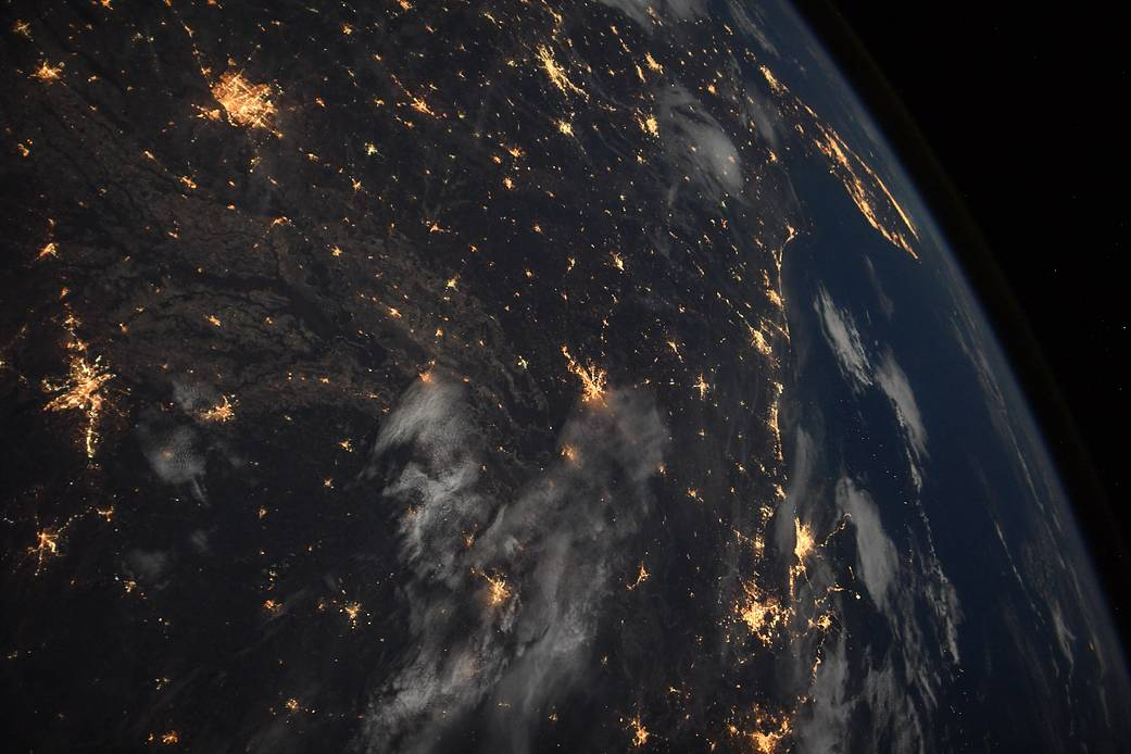 The Earth is shown at night in this undated photo captured from the International Space Station.
