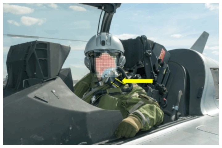 This censored photo shows a 64-year-old civilian before he ejected from a fighter jet during takeoff in France on March 20, 2019.