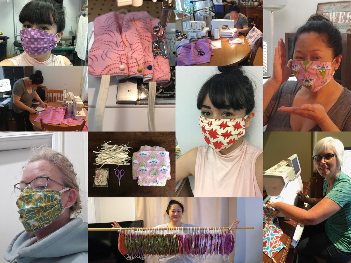 UGM staff and volunteers produce colourful home-made masks for front-line workers with the charity.