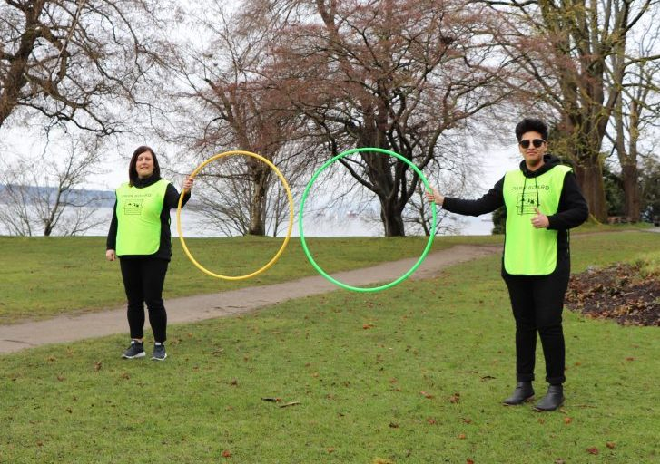 """Vancouver Park Board staff display the new """"Champions"""" program to promote physical distancing in parks and beaches."""