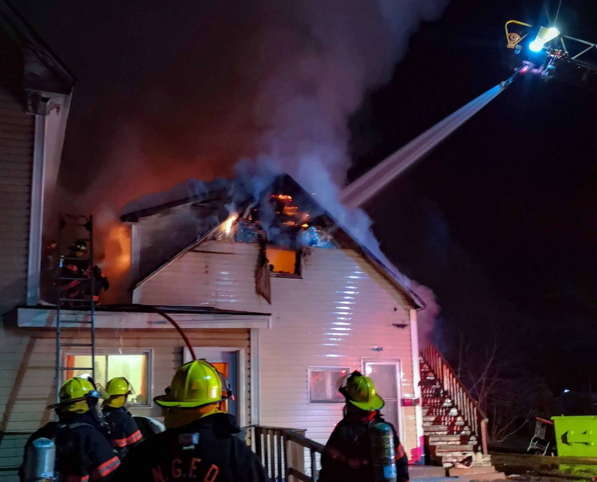 First responders at the scene of a fire in New Glasgow, N.S., on April 30, 2020.