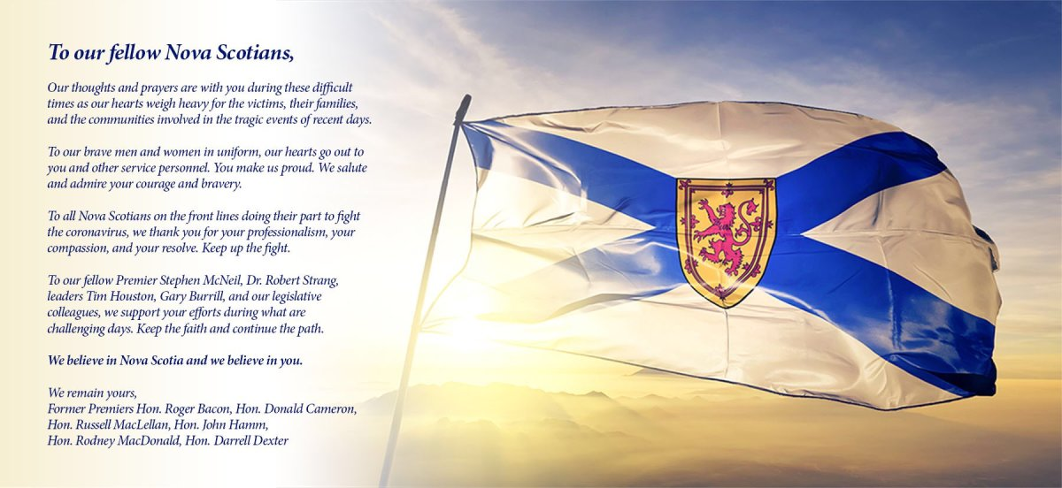 An open letter signed by six former premiers commends frontline workers, first responders and political leaders in Nova Scotia.