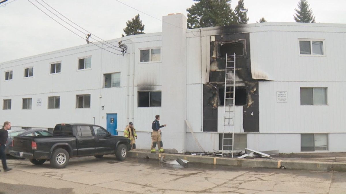 Crews responded to a fire at a west end apartment building in Edmonton on Monday, April 27, 2020.