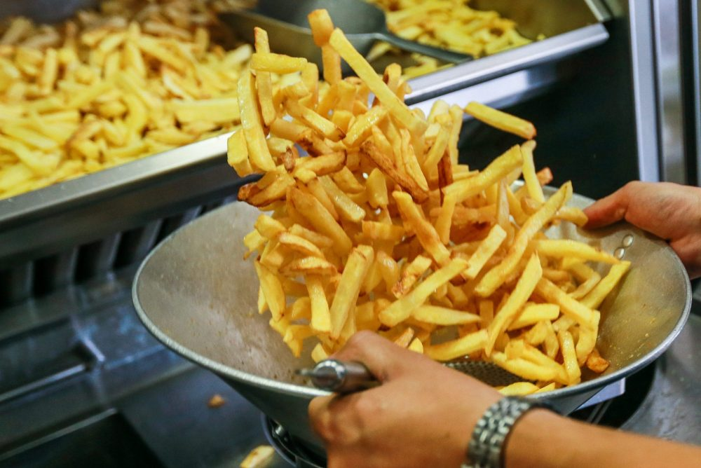 A view of typical Belgian French fries 'Frites', chips, in Brussels, Belgium,19 September 2018.