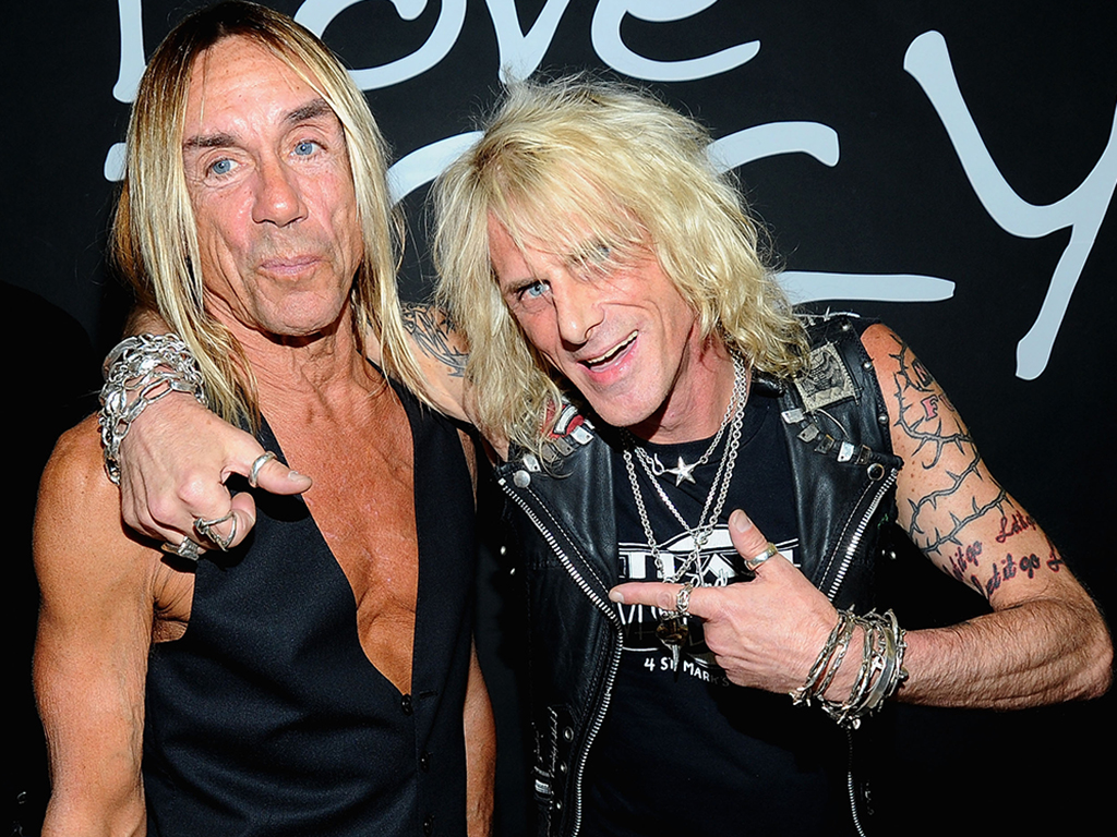 (L-R) Iggy Pop and Jimmy Webb of Trash and Vaudeville attend the launch of Archive 1887 Iggy Pop Collection at Barneys Co-Op on July 28, 2010 in New York City.