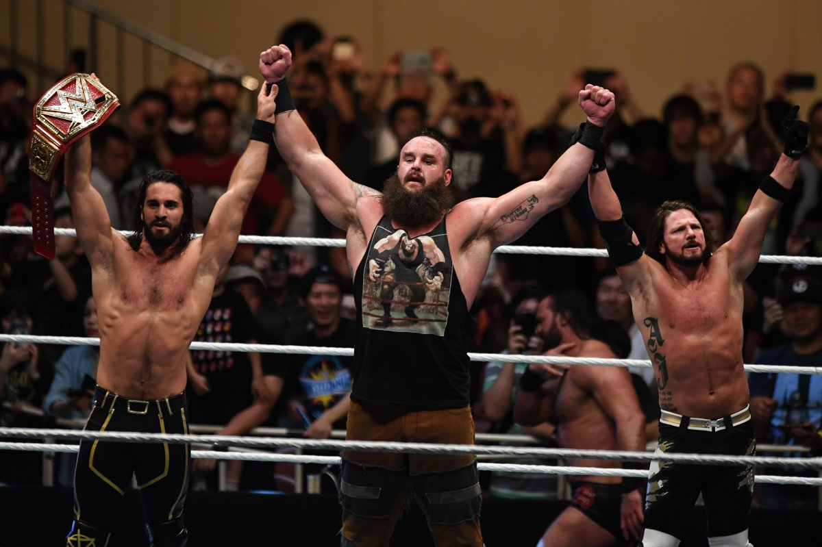 Seth Rollins, Braun Strowman and AJ Styles celebrate victory during the WWE Live Tokyo at Ryogoku Kokugikan on June 29, 2019 in Tokyo, Japan.