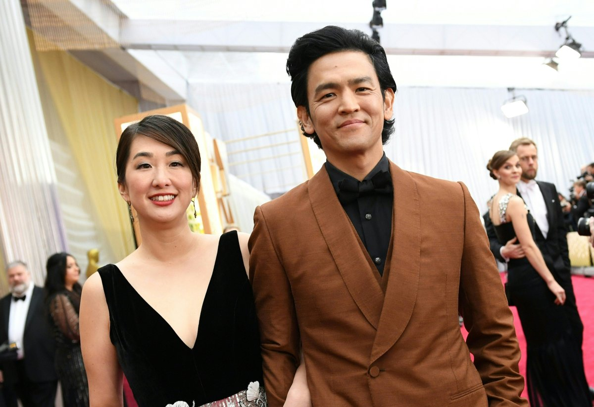 US-Korean actor John Cho and his wife actress Kerri Higuchi arrive for the 92nd Oscars at the Dolby Theatre in Hollywood, Calif., on February 9, 2020.