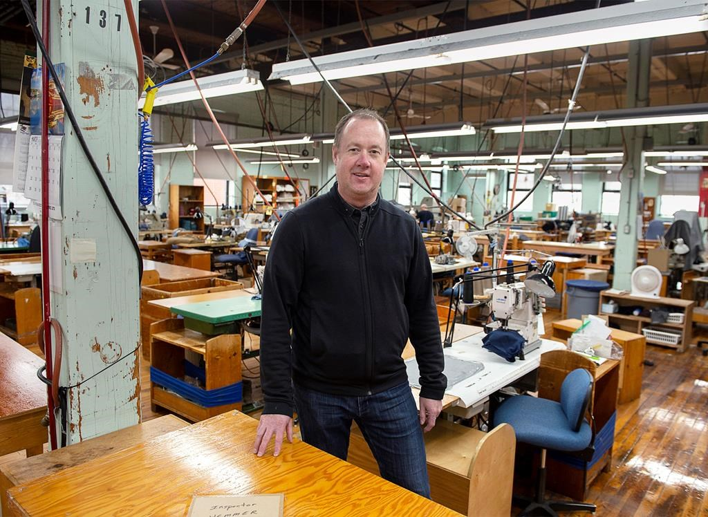 Jon Stanfield, president and CEO of Stanfield's Ltd., stands in one of the production areas of the garment manufacturing company in Truro, N.S. on Tuesday, March 31, 2020.