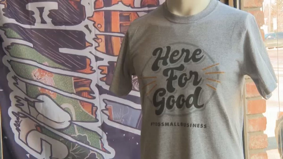 """Edmonton's Print Machine has launched a """"Here For Good"""" T-shirt campaign to help support local business."""