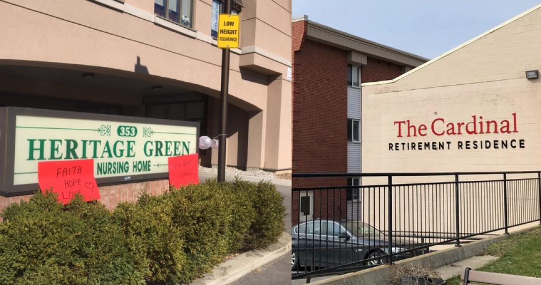 A third resident at Heritage Green nursing home has died from COVID-19, while seven residents at Cardinal Retirement Residence have been hospitalized.