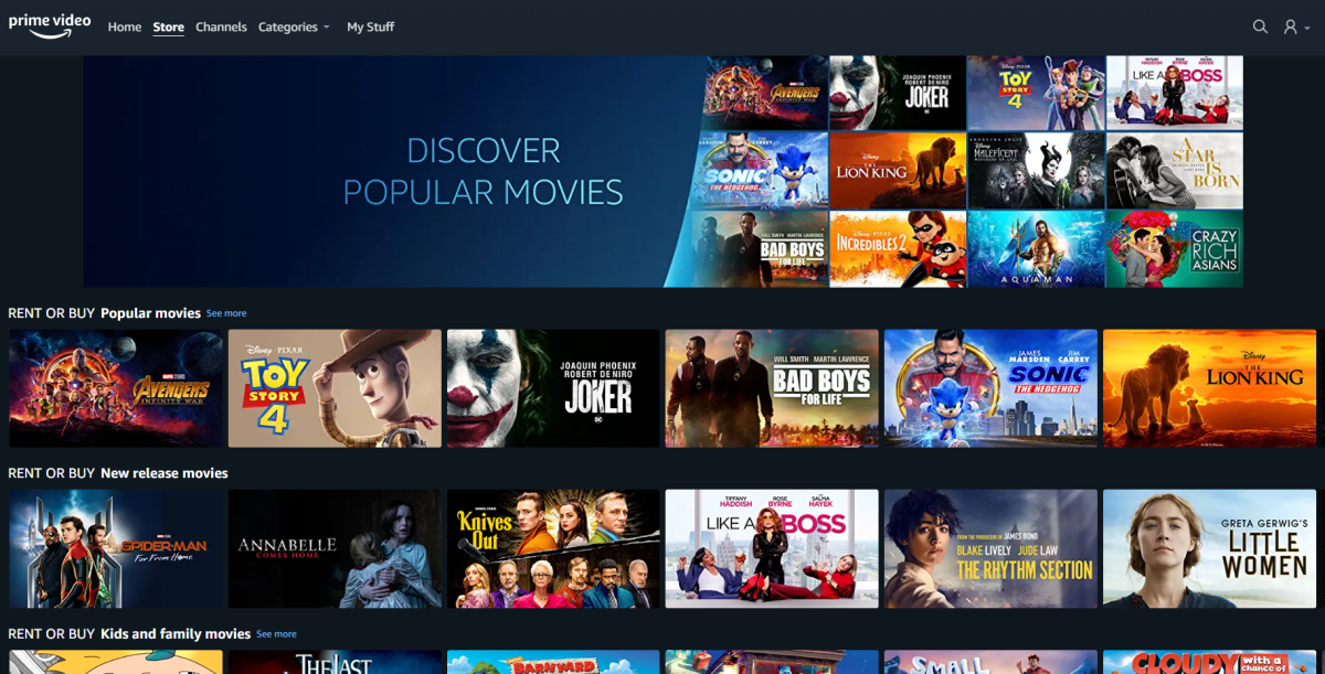 Amazon has launched its Prime Video Store in Canada, which offers movies for rental and purchase.