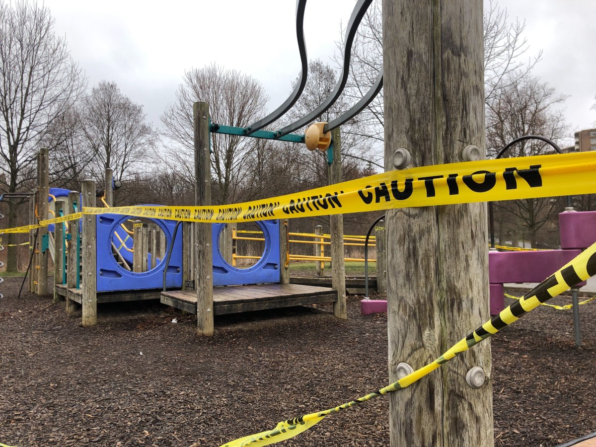 Playground atGibbons Park in London Ont. blocked off because of COVID-19 closures .