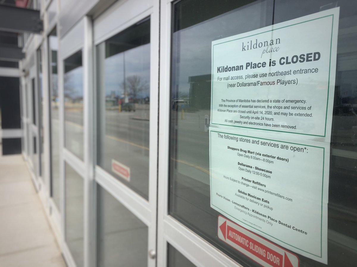 Most businesses within Kildonan Place were closed as of April 1 to comply with Manitoba's public health order mandating the closure of all non-essential businesses.