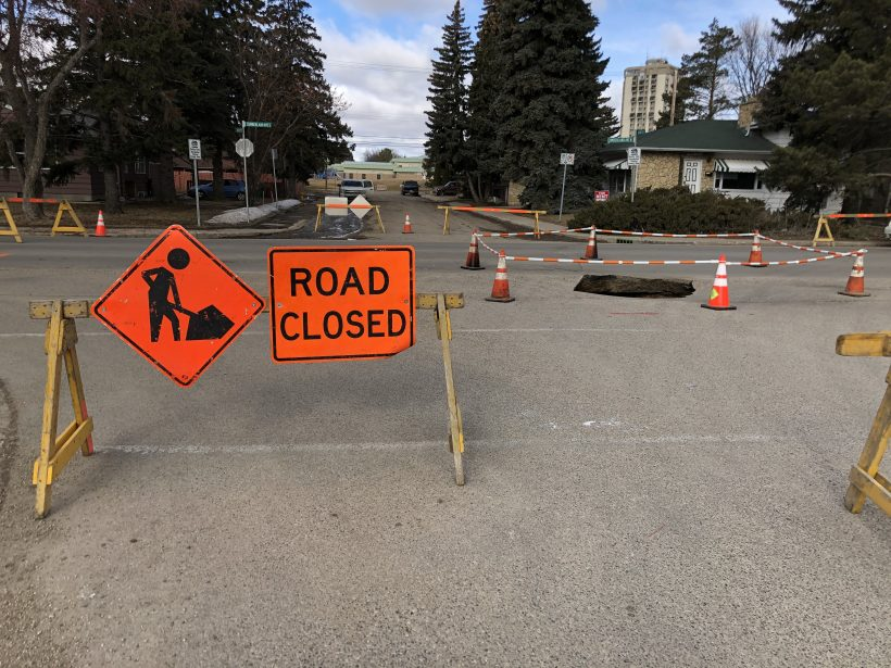 A sinkhole that opened Monday morning in Saskatoon was caused by a water main leak, according to the city.