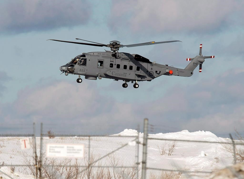 A CH-148 Cyclone maritime helicopter is seen during a training exercise at 12 Wing Shearwater near Dartmouth, N.S. on March 4, 2015. THE CANADIAN PRESS/Andrew Vaughan.