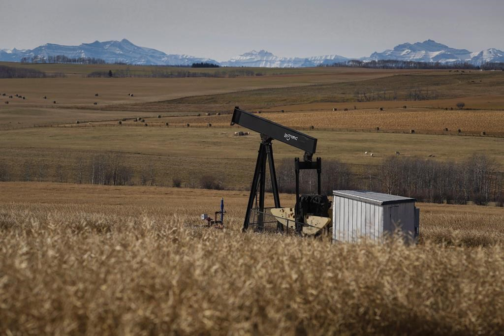 A de-commissioned pumpjack is shown at a well head on an oil and gas installation near Cremona, Alta., on October 29, 2016.