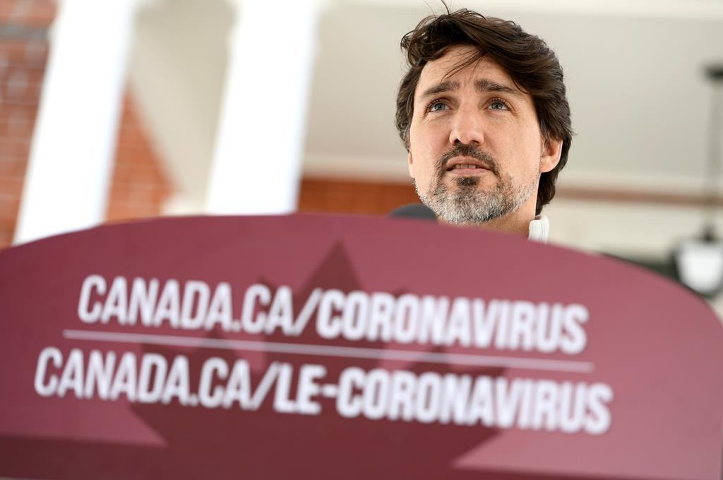 Prime Minister Justin Trudeau speaks during his daily press conference on the COVID-19 pandemic in front of his residence at Rideau Cottage on Saturday, April 18, 2020.