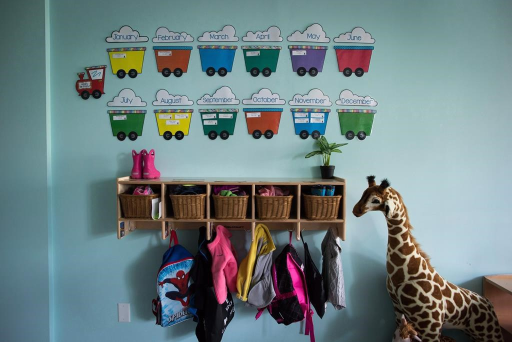Children's backpacks and shoes are seen at a child care centre.