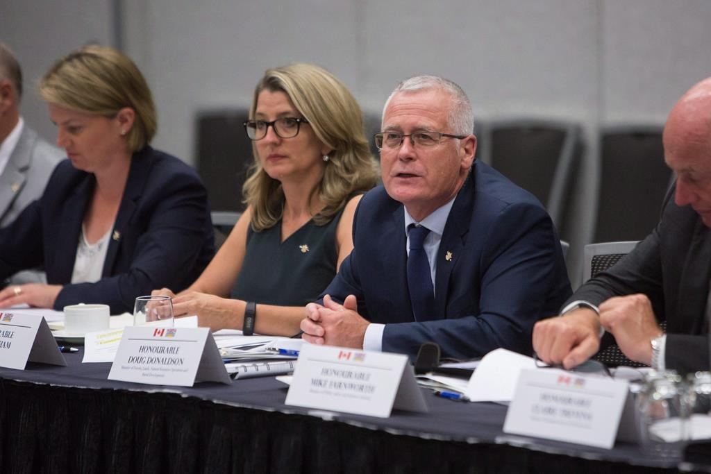 British Columbia Forestry Minister Doug Donaldson meets with federal and provincial ministers to discuss their response to the B.C wildfire in Vancouver, B.C., on Tuesday September 5, 2017. THE CANADIAN PRESS/Ben Nelms.
