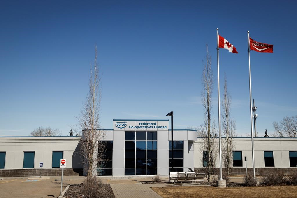 The Federated Co-op warehouse in Calgary, Alta., is shown on Friday, March 27, 2020. THE CANADIAN PRESS/Jeff McIntosh.
